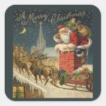 Feliz Navidad Pegatina Cuadradas Personalizada