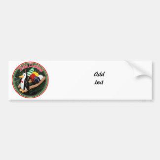 Feliz Navidad - Penguin With Sled Ornament Car Bumper Sticker