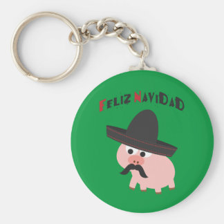 Feliz Navidad! Pig Basic Round Button Keychain