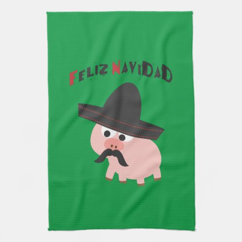 Feliz Navidad Pig Kitchen Towel