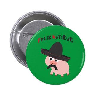 Feliz Navidad! Pig Pinback Button