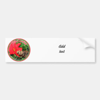 Feliz Navidad - Pine Cone w/Poinsettia Ornament Car Bumper Sticker