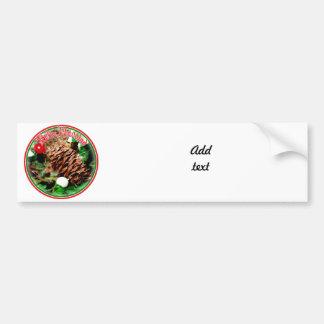 Feliz Navidad - Pine Cone With Ivy Car Bumper Sticker