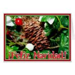 Feliz Navidad - Pine Cone With Ivy Card