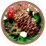 Feliz Navidad - Pine Cone With Ivy Photo Cutouts