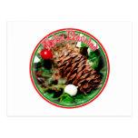 Feliz Navidad - Pine Cone With Ivy Postcards