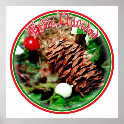 Feliz Navidad - Pine Cone With Ivy Posters