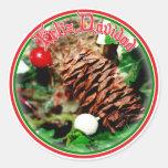 Feliz Navidad - Pine Cone With Ivy Stickers