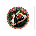 Feliz Navidad - pingüino con el ornamento del trin Plantillas De Tarjeta De Negocio
