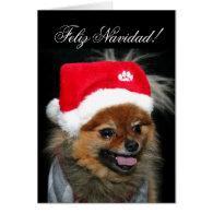 Feliz Navidad Pomeranian greeting card