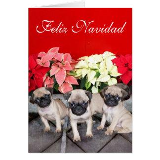 Feliz Navidad pug puppies greeting card