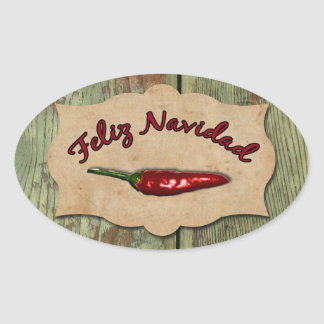 Feliz Navidad Red Hot Chili Pepper Old Wood Seal Oval Sticker