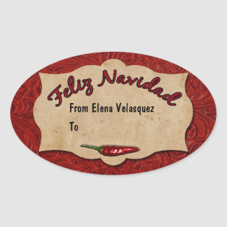 Feliz Navidad Red Leather Personalized Gift Tag