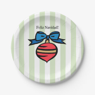 Feliz Navidad Red Ornament 7 in. Paper Plate Green