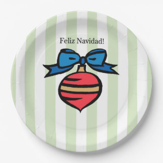Feliz Navidad Red Ornament 9 in. Paper Plate Green