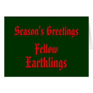 """Feliz Navidad roja de los """"Earthlings Tarjeta De Felicitación"""