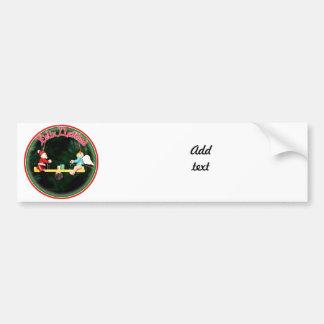 Feliz Navidad - Santa And Angel Teeter Ornament Car Bumper Sticker