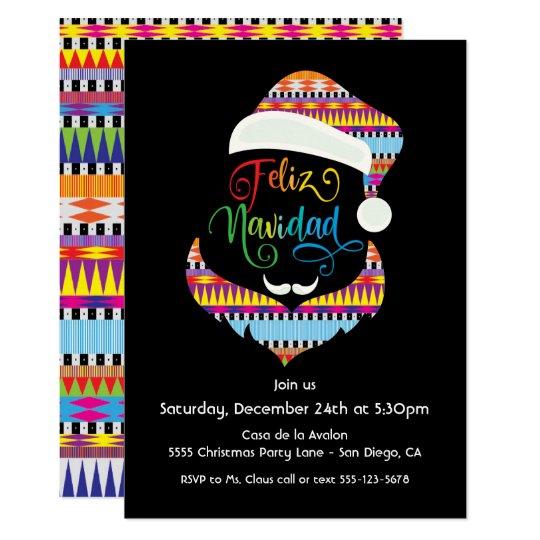 Feliz Navidad Santa Claus Christmas Party Invitation Zazzle Com
