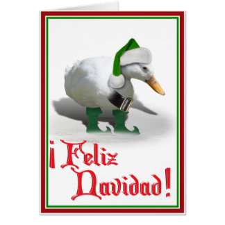 Feliz Navidad - Santa's Helper Elf Duck Card