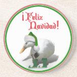 Feliz Navidad - Santa's Helper Elf Duck Drink Coasters