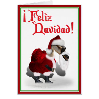 Feliz Navidad - Silly Santa Goose Card