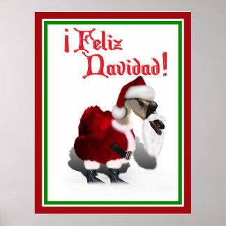 Feliz Navidad - Silly Santa Goose Poster