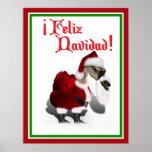 Feliz Navidad - Silly Santa Goose Print