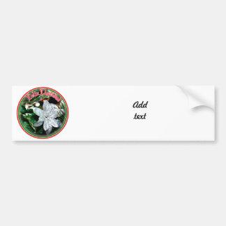 Feliz Navidad - Silver Poinsettia Ornament Car Bumper Sticker