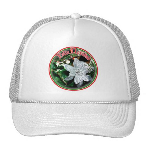 Feliz Navidad - Silver Poinsettia Ornament Trucker Hats