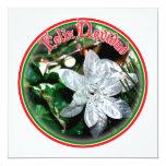 """Feliz Navidad - Silver Poinsettia Ornament 5.25"""" Square Invitation Card"""