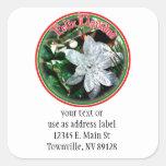 Feliz Navidad - Silver Poinsettia Ornament Stickers