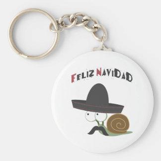 Feliz Navidad Snail Basic Round Button Keychain