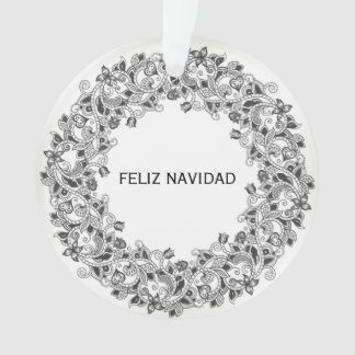 Feliz Navidad snow white ornament with wreath