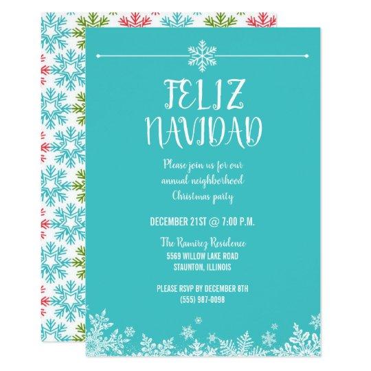 Feliz Navidad Snowflake Christmas Party Invitation Zazzle Com