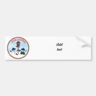 Feliz Navidad - Snowmen with Cowboy Hats Car Bumper Sticker