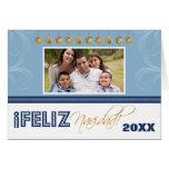 Feliz Navidad Spanish Family Holiday Card (blue)