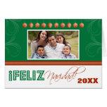 Feliz Navidad Spanish Family Holiday Card (green)