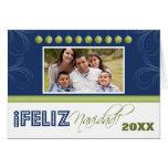 Feliz Navidad Spanish Family Holiday Card (navy)