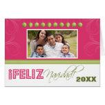 Feliz Navidad Spanish Family Holiday Card (pink)