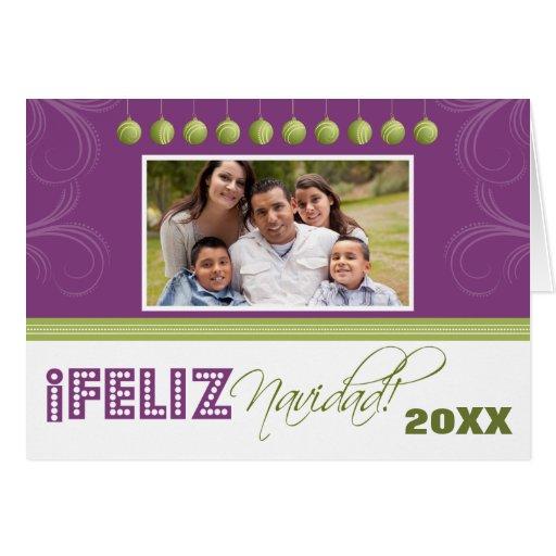 Feliz Navidad Spanish Family Holiday Card (purple)