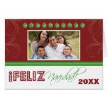 Feliz Navidad Spanish Family Holiday Card (red)