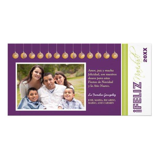 Feliz Navidad Spanish Holiday Photocard (purple) Card