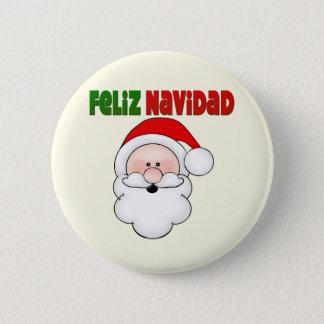 Feliz Navidad Spanish Santa Pinback Button