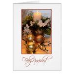 Feliz Navidad, Spanish white with gold bulbs and c Card