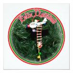 "Feliz Navidad - Special Delivery Santa Ornament 5.25"" Square Invitation Card"