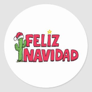 Feliz Navidad Sweatshirt T Shirt Gift Cards Classic Round Sticker