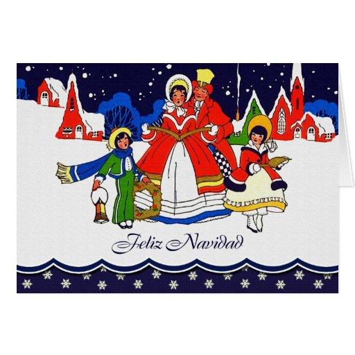 Feliz Navidad. Tarjeta española del estilo del