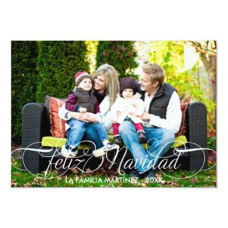 Feliz Navidad Tarjeta Fotográfica Escritura Blanca Invitación