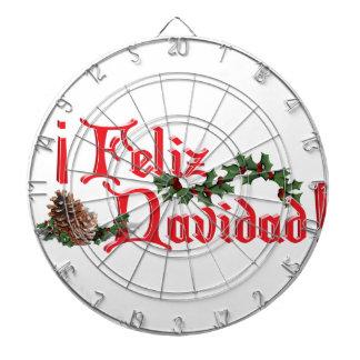 Feliz Navidad Text Design with Pine Cones Dart Board