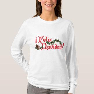 Feliz Navidad Text Design with Pine Cones T-Shirt